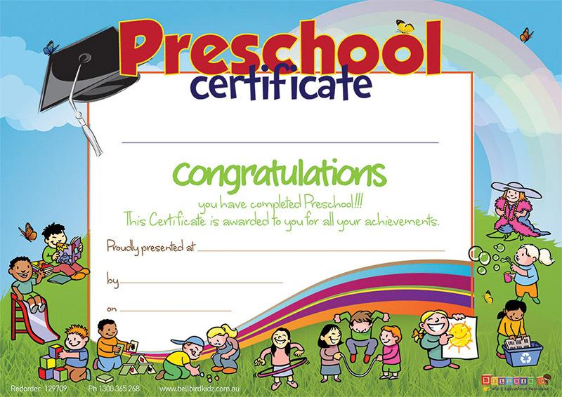 Bellbird Certificate - Preschool Completion