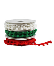 >Pom Pom String Christmas Colours 2m Roll - 3pcs