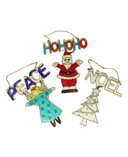 *SPECIAL: >Christmas Wooden Hanging Ornaments - 12pk