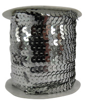 *Sequin String Roll 5mm x 45m - Silver