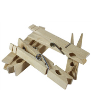 Natural Wooden Pegs With Spring - 48pk