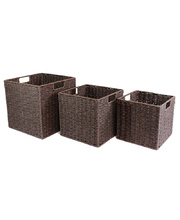 Natural Paper Rope Basket - Chocolate Set of 3
