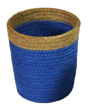 Natural Jute Mini Basket - Royal Blue