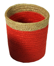 Natural Jute Mini Basket - Red