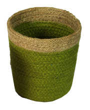 Natural Jute Mini Basket - Green