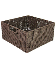 Natural Paper Rope Square Basket - Chocolate
