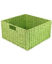 @Natural Paper Rope Square Basket - Green