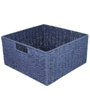 @Natural Paper Rope Square Basket - Blue