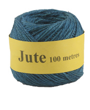 Jute Cord 2 Ply Roll 100m - Blue