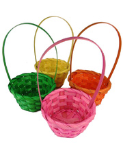 *SPECIAL: >Bamboo Basket Round Assorted Colours - with Handle 4pk