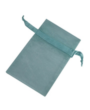 Organza Draw String Bag - 110 x 75mm Light Blue