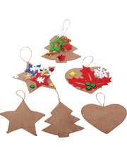 *>Paper Mache Christmas Decorations Puffy - 6pk