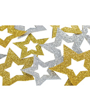 *SPECIAL: >Glitter Embellishment - Hollow Stars Gold/Silver 50pk