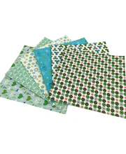 *SPECIAL: >Christmas Printed Card Squares - Blue/Green 24pk