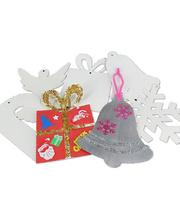 >Paper Christmas Shapes White - Assorted Large 20pcs