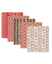 *SPECIAL: >Kraft Christmas Decorative Paper - 5 designs 40pk