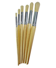 Hog Hair Brushes School Pack of 60 - Assorted Long Round