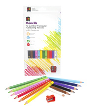 EC Jumbo Triangular Coloured Pencils - 12pk & Sharpener