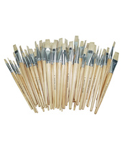Hog Hair Brushes School Pack of 60 - Assorted Long Flat