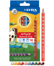Lyra Groove Natural Grip Pencils - Coloured 10pk