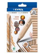 Lyra Colour Giant Pencils - Skin Tones 12pk
