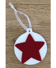 >Ceramic Hanging Baubles - Flat 6pk