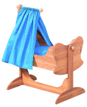 Gluckskafer Wooden Doll Rocking Cradle With Canopy