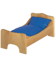 Gluckskafer Wooden Doll Bed - with Mattress & Pillow Set