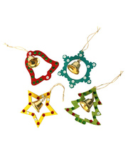 *SPECIAL: Wooden Christmas Shapes - with Jingle Bell & Hanger 4pk