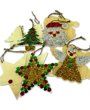 >Wooden Shapes Christmas Assorted - with Jute 12pcs