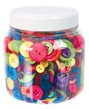Bright Coloured Bulk Buttons - Jar 600g
