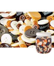 Natural Coloured Bulk Buttons - Jar 600g