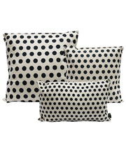 Indoor Linen & Cotton Cushion - Navy Blue Dots Set of 3