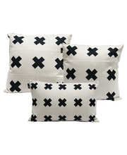Indoor Linen & Cotton Cushion - Navy Blue Cross Set of 3