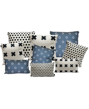 Indoor Linen & Cotton Cushion - Navy Blue Complete Set of 9