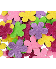 Glitter Foam Shapes - Flowers Assorted Colours 60pk