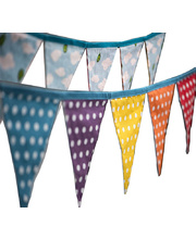 *SPECIAL: Large Rainbow & Spot/Cloud Reversible Bunting Flags - 10 flags