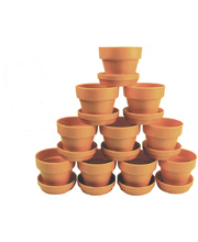 Terracotta Colour Plastic Plant Pot & Saucer - 10pk