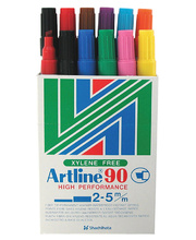 Artline 90 Chisel Permanent Marker - Assorted 12pk