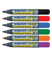 Artline 579 Chisel Whiteboard Marker - Assorted Colours 6pk