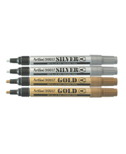 Artline Metallic Marker - 2.3mm Silver/Gold 4pk