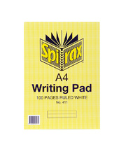 *Spirax Writing Pad - A4 100 Pages Ruled White Bank