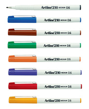 Artline 210 Medium Line Pen 0.6mm - 8 Colour Assorted 12pk