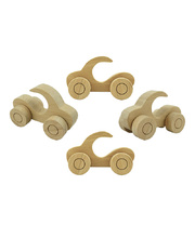 Wood Cars with Handle - 4pcs 13 x 7cmH