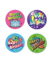 Happy Birthday Stickers - Large 48pk