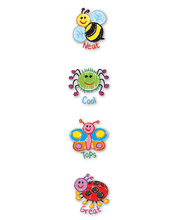 Merit Stickers 29mm 96pk - Kid Drawn Bugs