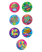 Happy Birthday Stickers - Small 84pk
