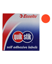 Permanent Circle Stickers 24mm 350pk - Fluoro Red