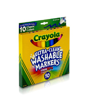 Crayola Ultra Clean Washable Broadline Markers - Classic Colours 10pk