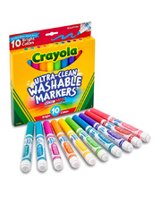 Crayola Ultra Clean Washable Broadline Markers - Bright Colours 10pk